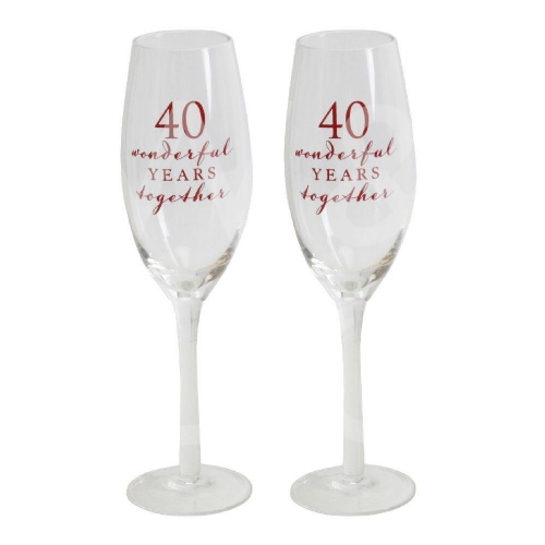 Amore Champagne Flutes Set of 2 - 40th Anniversary
